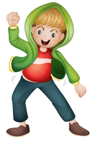 full pant: illustration of a boy in green jacket on white background Illustration