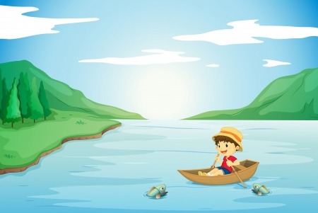rowing boat: illustration of a boy rowing in a boat in nature