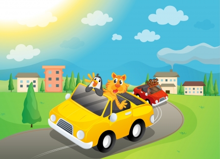 illustration of animals travelling in car Stock Vector - 15667639