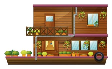 ventanas abiertas: ilustración de una casa de dos almacenado en el fondo blanco