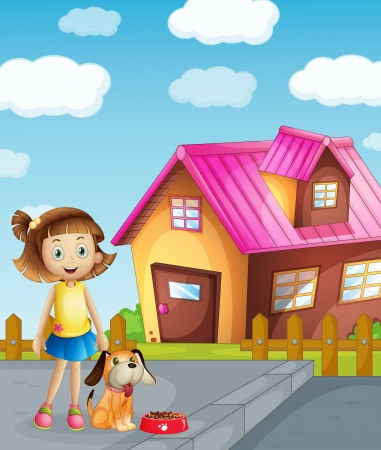 illustration of a girl, dog and house in a beautiful nature Vector