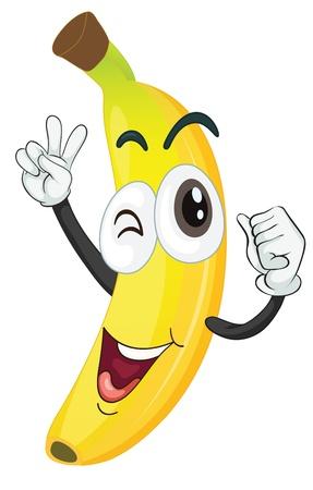 banaan cartoon: illustratie van banaan op een witte achtergrond
