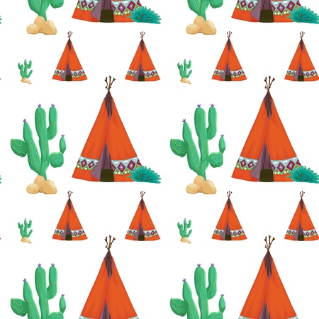 movable: illustration of a tent and cactus on a white background