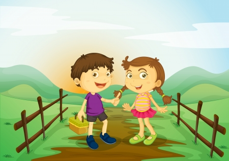 illustration of a kids and landcape in a beautiful nature Stock Vector - 15667698