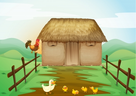 animal shelter: illustration of house and ducks in a beautiful nature Illustration