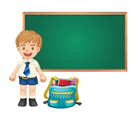 illustration of a boy and green board on white background Vector