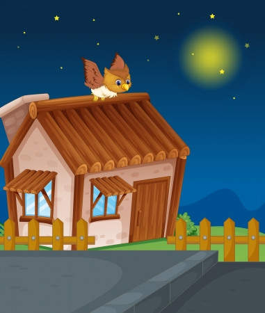 illustration of a house and owl in night Stock Vector - 15667853