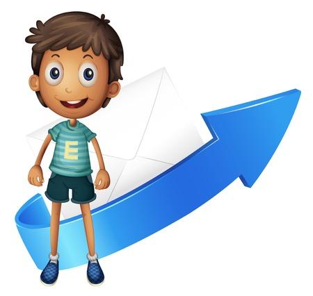 envelop: illustration of a boy, arrow and envelop on a white background Illustration