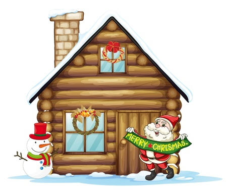 small house: illustration of house and santa claus on a white background