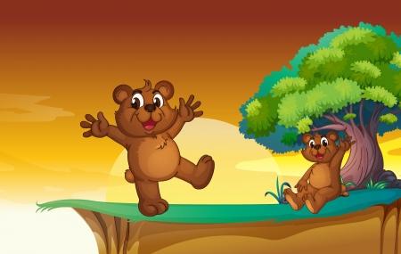 bluff: illustrazione di orsacchiotti in una natura bellissima