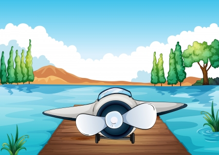 illustration of river, bench and aeroplane in a beautiful nature Stock Vector - 15667855