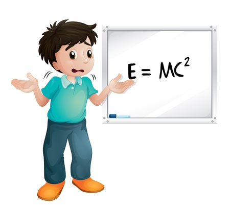 illustration of boy showing white board on white a white background Illustration