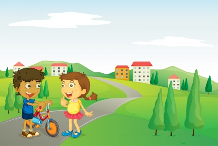 grass cartoon: illustration of kids and road in a beautiful nature