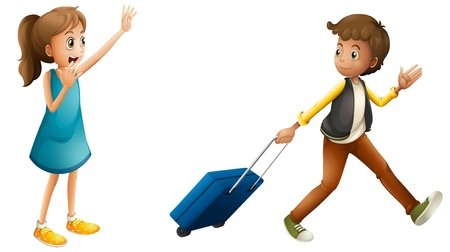 illustratie van een jongen, meisje en koffer op een witte achtergrond