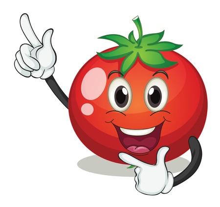aliments droles: illustration d'une tomate sur un fond blanc