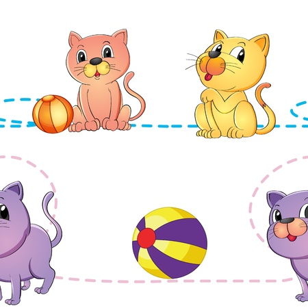 air animals: illustration of a cats and ball on a white background