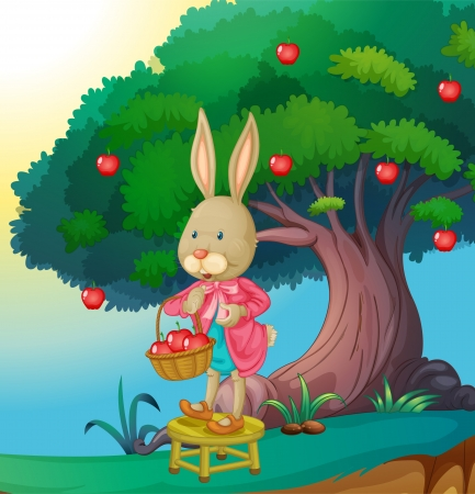 golden apple: illustration of a rabbit in a beautiful nature