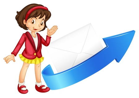 envelop: illustration of a girl, arrow and envelop on a white background