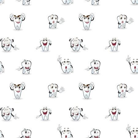 seamless: ilustrace zubů na bílém pozadí