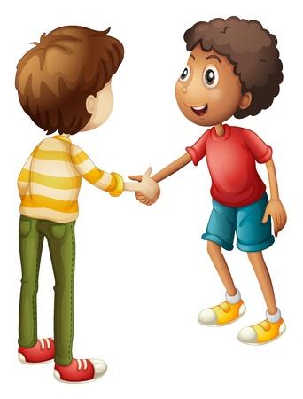 mani cartoon: illustrazione di un ragazzo su uno sfondo bianco
