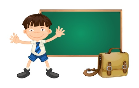illustration of a boy and green board on white background Stock Vector - 15667236
