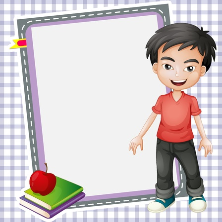 full pant: illustration of boy, books and white board