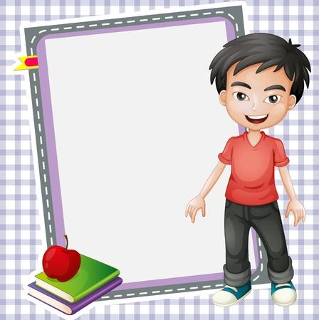 manzana caricatura: ilustración del niño, los libros y la pizarra Vectores