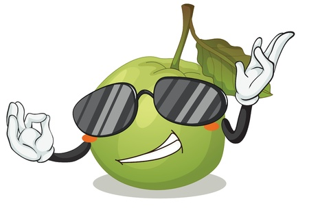 illustration of a green apple on a white background Vector