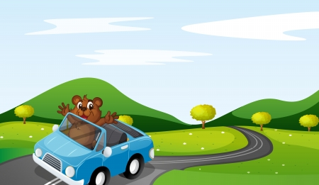 car carrier: illustration of a bear and a car in a beautiful nature