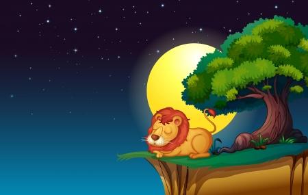 estrella caricatura: ilustraci�n de un le�n en una noche oscura