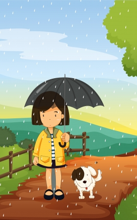 rain cartoon: illustration of a girl and dog in a beautiful nature