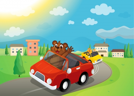 construction vehicle: illustration of a bear and cars in a beautiful nature