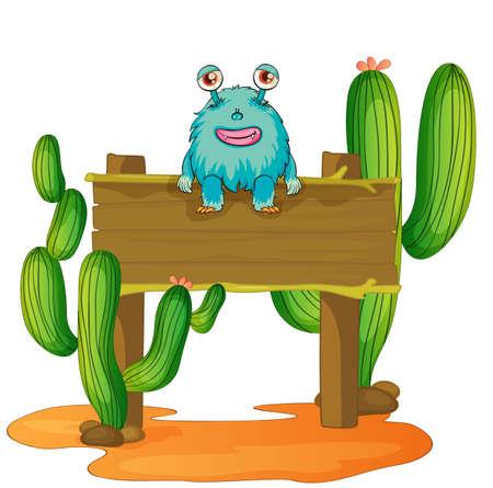 cactus desert: illustration of an alien sitting on board on hite Illustration