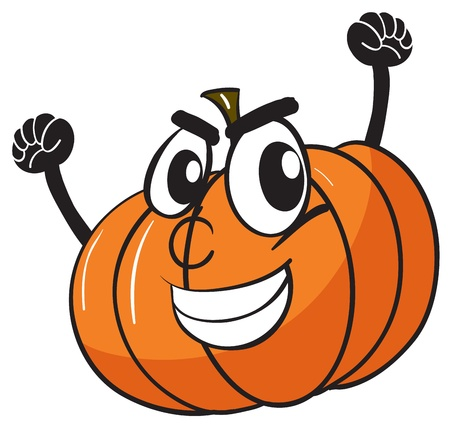 foodstuff: illustration of smiling pumpkin face on white Illustration