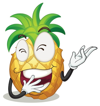 illustration of a pineapple smiling on a white background