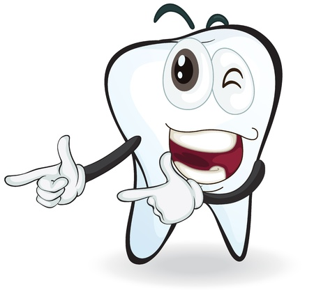 teeth cartoon: illustration of a tooth with naughty expressions Illustration