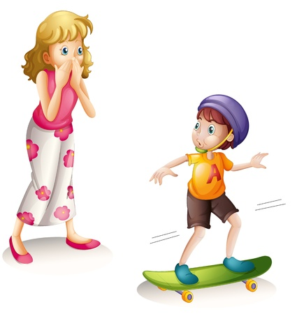 children s: illustration of a boy and his mother on a white background