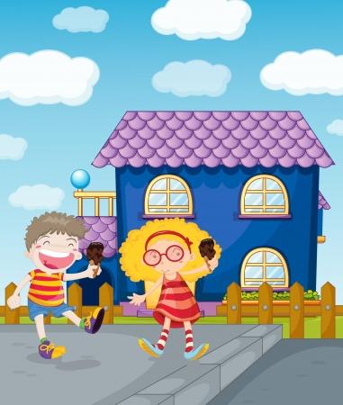 golden hair: illustration of happy kids eating icecream Illustration
