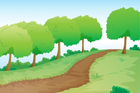 detailed illustration of a road in green nature Vector