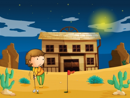 illustration of a boy playing golf in front of house Vector