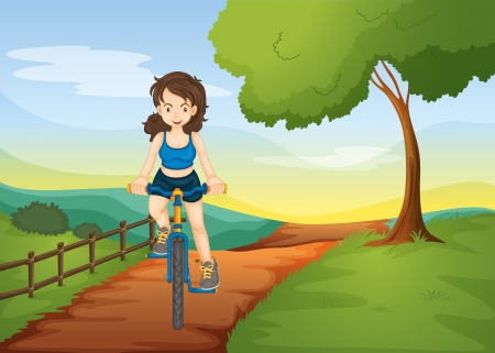 bike riding: illustration of a girl riding on a bicycle in nature