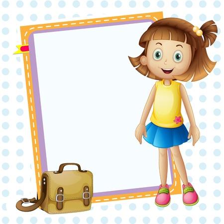 zapatos escolares: ilustraci�n de una chica y cart�n con bolsa en blanco