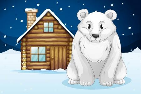 illustration of a polar bear infron of house Stock Vector - 15667914