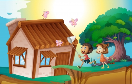 man outdoors: illustration of a kids playing infront of house