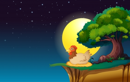 illustration of a hen sitting under the tree in night Stock Vector - 15667727
