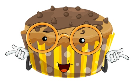 illustration of a cake with spectacles on white Vector