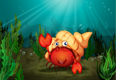 sea weed: illustration of a crab under deep water