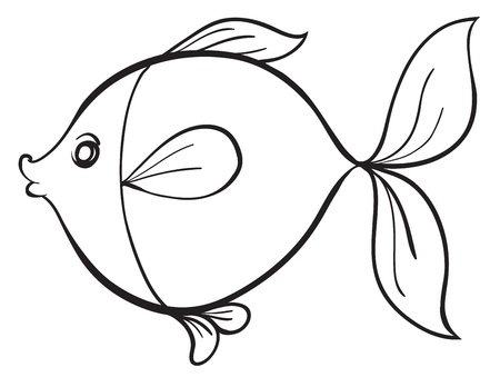 detailed illustration of a fish line art on white Stock Vector - 15667294
