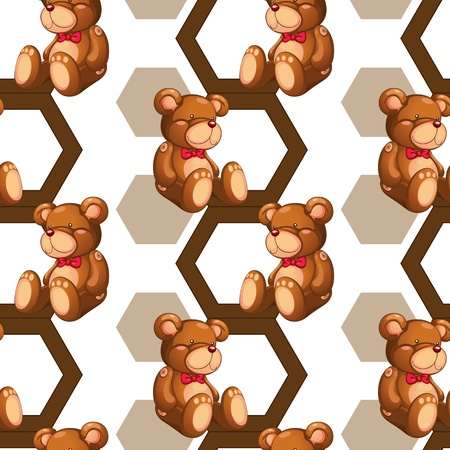 illustration of an array of teddy bear on white Vector