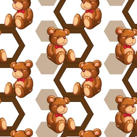 plush: illustration of an array of teddy bear on white